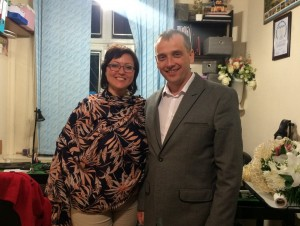 Епископ Леонид Вороненко с пастором Ольгой Левченко в офисе Церкви Славы Божьей